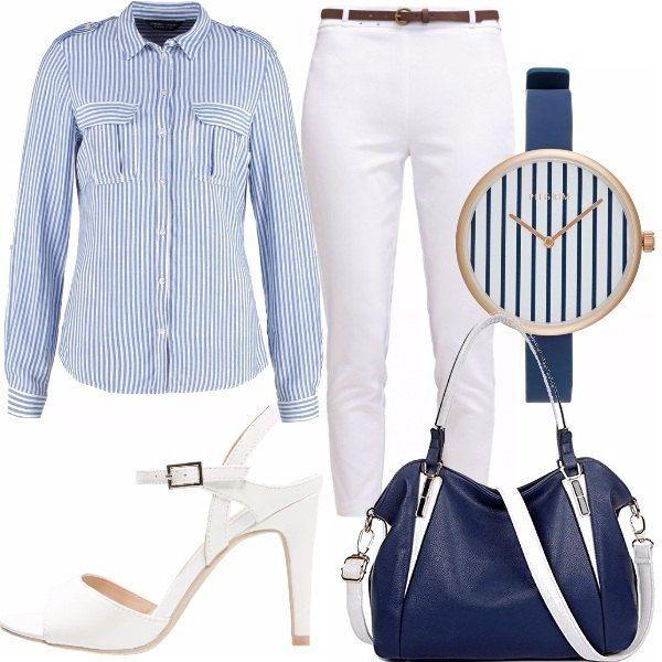 Il look a cui mi sono ispirata è molto semplice ed essenziale ma al contempo lo reputo di gran classe. Una camicia che potrete indossare sia dentro che fuori abbinata ad un pantalone chino fino alla caviglia. IL tutto abbinato ad un sandalo bianco con tacco non eccessivo e ad una borsa blue e bianca. L'orologio di Pilgrim è perfetto con l'outfit.