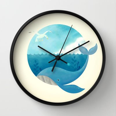 Whale & Seagull (US and THEM) Wall Clock by ErDavid | Society6