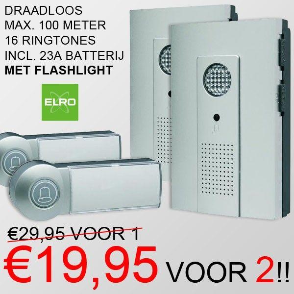 Set van 2 draadloze Deurbellen met Flashlight voor €19,95! www.euro2deal.nl