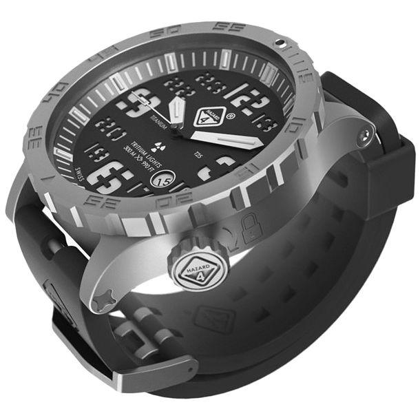 Hazard 4 heavy water diver titanium tritium watch bead blasted black dial white watches for Tritium dive watches