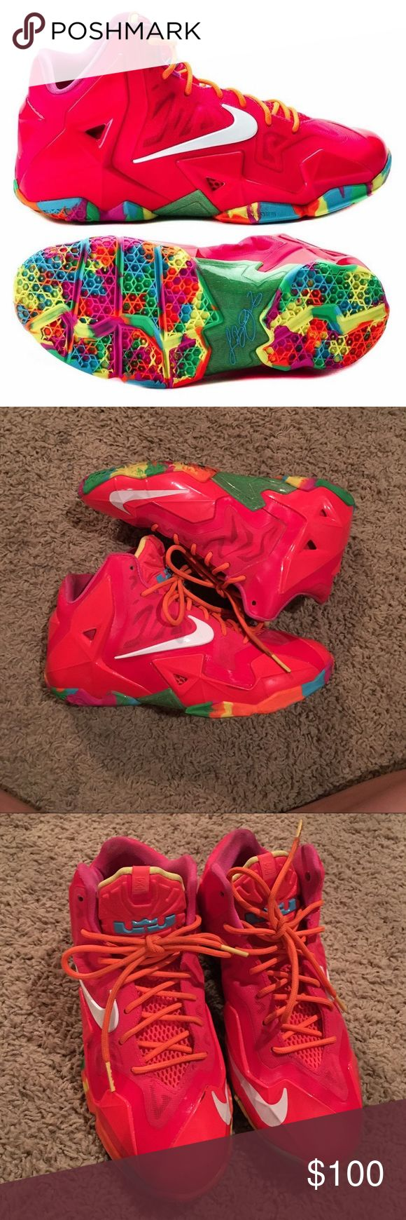 "Rare Lebron ""Fruity Pebble"" edition Nikes. Very rare Nike Lebron Fruity Pebbles great for collectors. Size in youth. They will fit best on a woman with size 7 or 7.5 shoe size. Nike Shoes Sneakers"