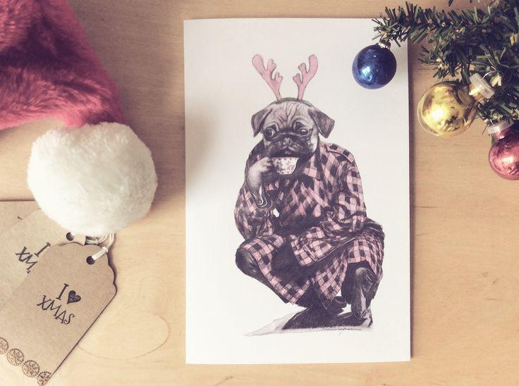 Red Pug dog christmas card