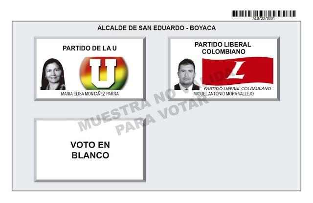 Tarjetón de elección para Alcalde de San Eduardo