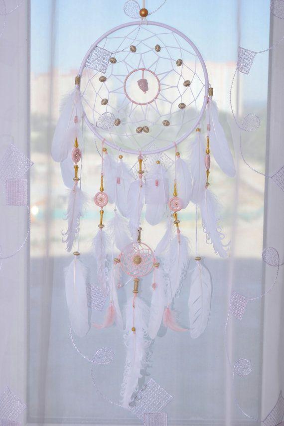 Grand capteur de rêve rose blanc et rose par MagicalSweetDreams