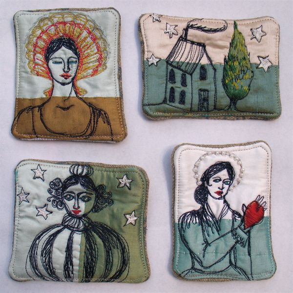 free motion embroidery by Tara Badcock. these are 8x5cm brooches.