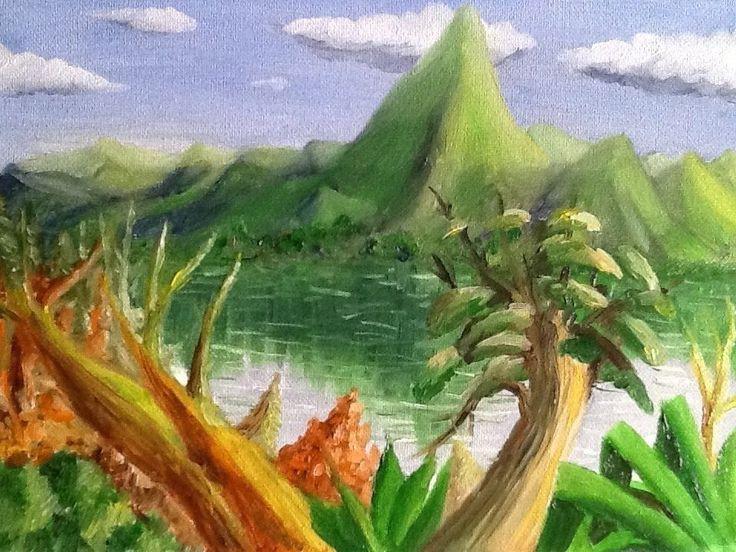 "Original Oil painting :Landscape: ""Wilderness "", Signed by Charles Goh #Impressionism"