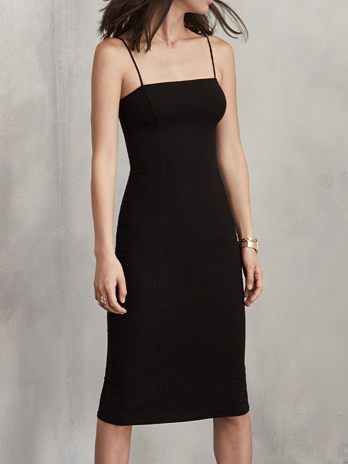 Reformation Now Sells the Perfect Black Slip Dress via @WhoWhatWear