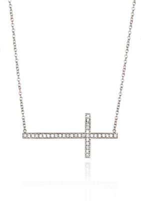 Belk  Co. Silver Platinum Plated Sterling Silver Cubic Zirconia Sideways Cross Necklace