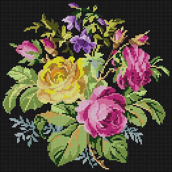 Rose Bouquet Blck Bkg