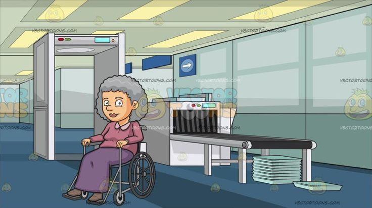 A Happy Grandmother Sitting In A Wheelchair At Airport Security Check:  An old woman with curly gray hair wearing a pale pink long sleeved shirt long purple skirt and pale brown shoes smirks while seated in a wheelchair. Set in an airport security check with a white metal detector luggage scanning machine with a gray conveyor belt light teal trays stacked in top of one another blue carpet paneled ceiling.
