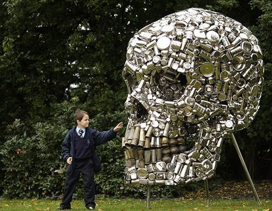 Giant Skull Made of Pots and Pans