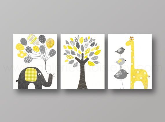 Nursery art print Nursery wall decor baby nursery decor Children Kids art yellow gray elephant giraffe bird Tree - Set of three prints