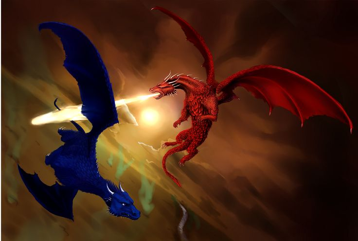 Twitter (July 2): Christopher Paolini: Fan art #33 — Saphira and Thorn fighting above the Burning Plains: pic.twitter.com/AnS8xT2Isk