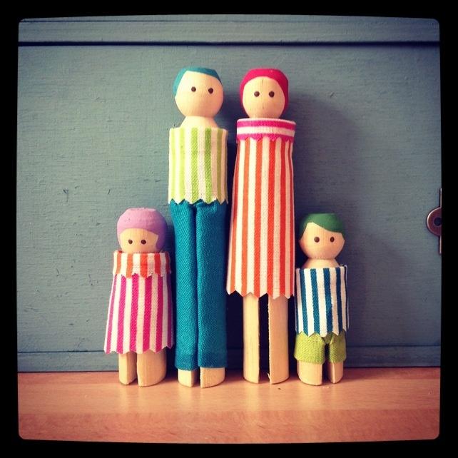 oude houten wasknijper familie
