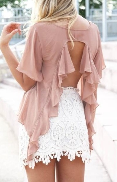 feminine open back shirt with white lace skirt. great summer outfit.