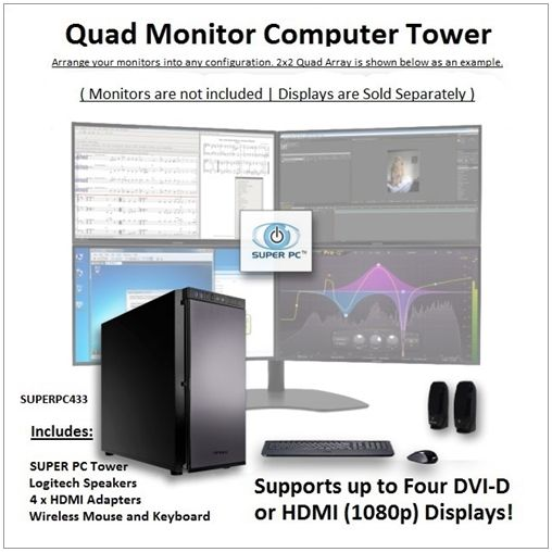 SUPER PC | Quad Monitor Workstation | 7th Gen Intel Core i5 Quadcore CPU  Use the following Coupon Code during Checkout: VPC5PO  3.5Ghz Intel Core i5 Quadcore CPU (3.9Ghz Turbo) 16GB of DDR4 PC12800 (1600Mhz) RAM Memory AMD Radeon RX 470 4GB GDDR5 [256-bit] Graphics Virtual Reality Ready and Compatible System 480GB SSD (Solid State Drive) 450MB/s Read & Write Windows 10 Pro 64-Bit with DVD Disc CD/DVD/RW Burner and BluRay reader Disc Drive All-In-One Digital Media Card Reader/Writer 6…