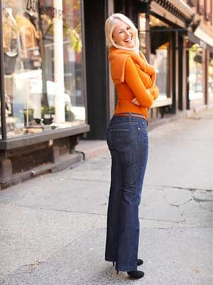1969 Long & Lean jeans, $70, Gap; gap.com.  Blanc Essential jeans, $78, White House Black Market; whbm.com. Sweater, $148, BCBGMaxAzria; 800-348-6940. Belt, $6, Forever 21; forever21.com.  Read more: Best Jeans for Body Type - Best Fitting Jeans for Women - Good Housekeeping