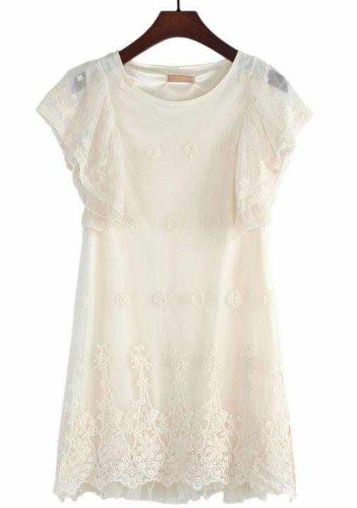Apricot Ruffles Sleeve Embroidery Lace Dress US$39.34