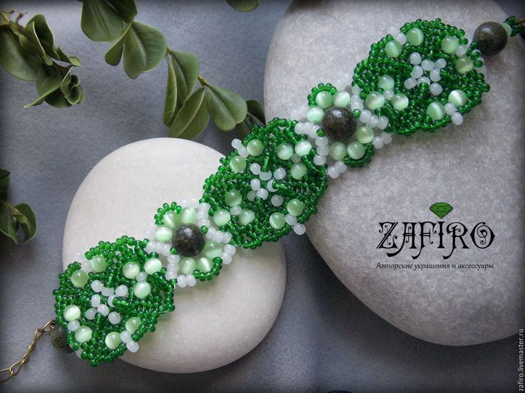 """Купить Браслет """"Сказочный лес"""" из бисера с натуральными камнями, зеленый - зеленый, браслет из бисера"""