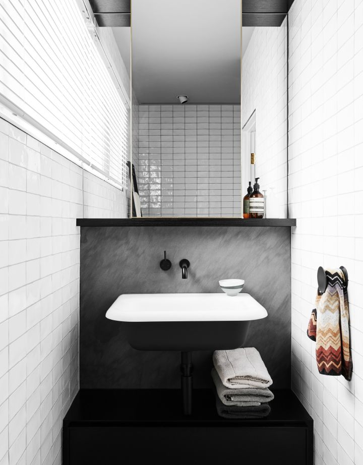 House Tour: A Chic Terrace In East Melbourne By Flack Studio: Similarly, In  The Guest Bathroom, The Monochrome Palette And Harmonious Textures Are  Broken ...