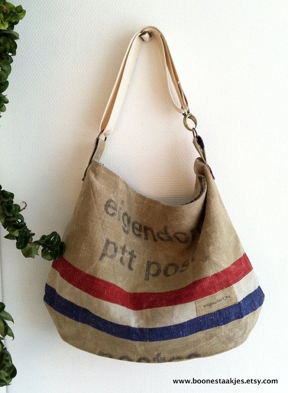 Vintage canvas postbag bag cross body shoulder by boonestaakjes, $103,00
