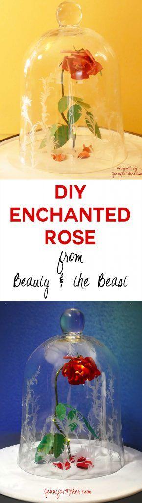 DIY Enchanted Rose   Disney's Beauty & the Beast   Decorated Bell Jar Cloche   JenniferMaker.com