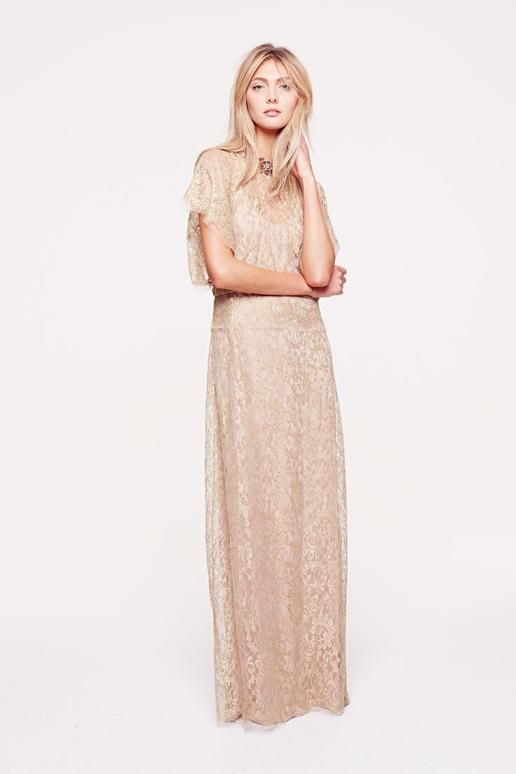 Collette Dinnigan French Gold Laced Jewelled Gown