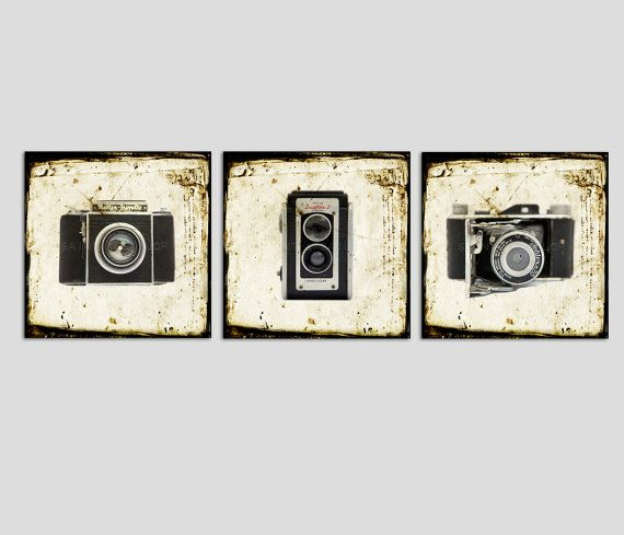 Set of Three Square Canvases Ready to Hang Vintage by shawnstpeter
