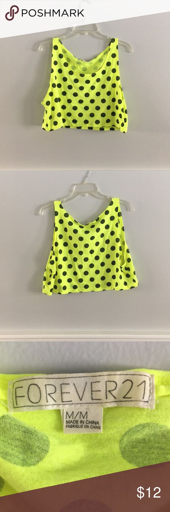 Women's crop top, tang top Women's summer crop top, tang top. Neon yellow with black poke a dots. Super fun! Only worn once. Forever 21 Tops Crop Tops