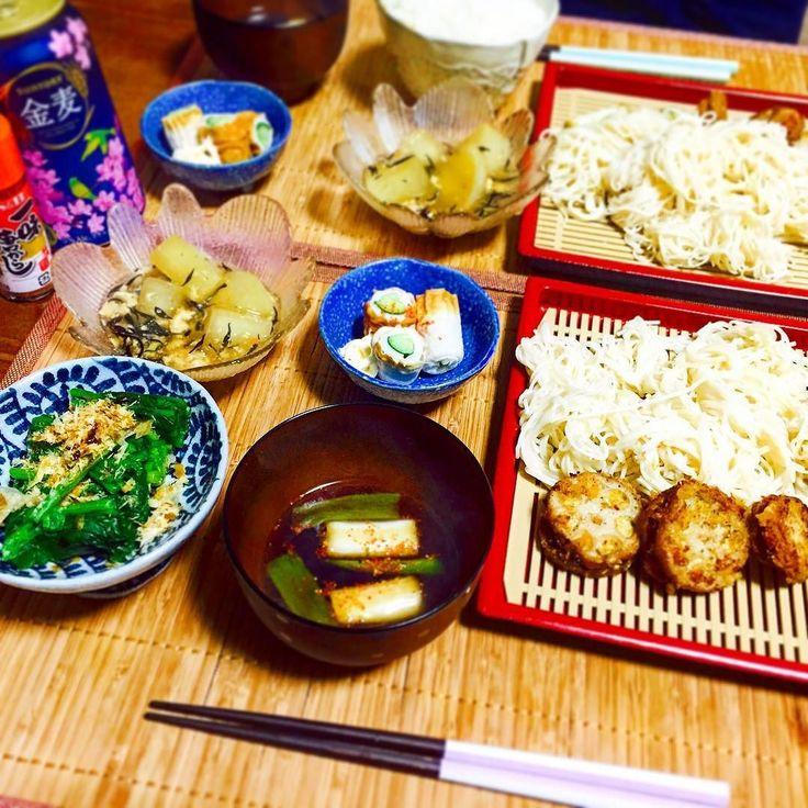 #晩御飯#よるごはん#夜ごはん#おうちごはん#ごはん#2人暮らし#アパート#新婚#宮崎#愛知#手作り#料理#節約#節約料理#cooking#1時間料理#和食#つけ麺#cookpad . 今日のごはん #そうめん #蓮根のはさみ揚げ #ネギの天ぷら #ほうれん草のおひたし #ちくわきゅうり #大根の煮物 鳥挽肉とひじきのあんかけ .  ごちそうさまでした by chiaki_chakky