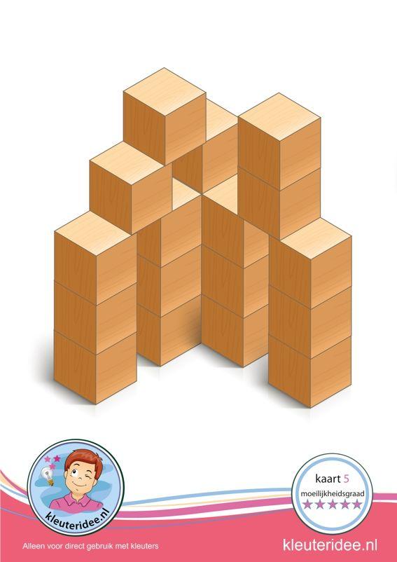 Bouwkaart 5 moeilijkheidsgraad 5 voor kleuters, kleuteridee, Preschool card building blocks with toddlers 10, difficulty 5, free printable.