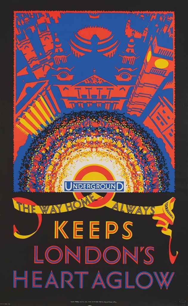 KEEPS LONDON'S HEART AGLOW by Frederick Charles Herrick, 1925 ~ London Undergrounf Poster