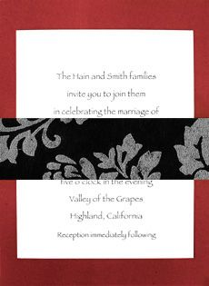 these are really cool...Floral Sash, Art Deco Baroque, Silver Wedding Invitations, Red Invitations, Easily Change, Silver Weddings, Black Floral, Red Wedding, Red Black