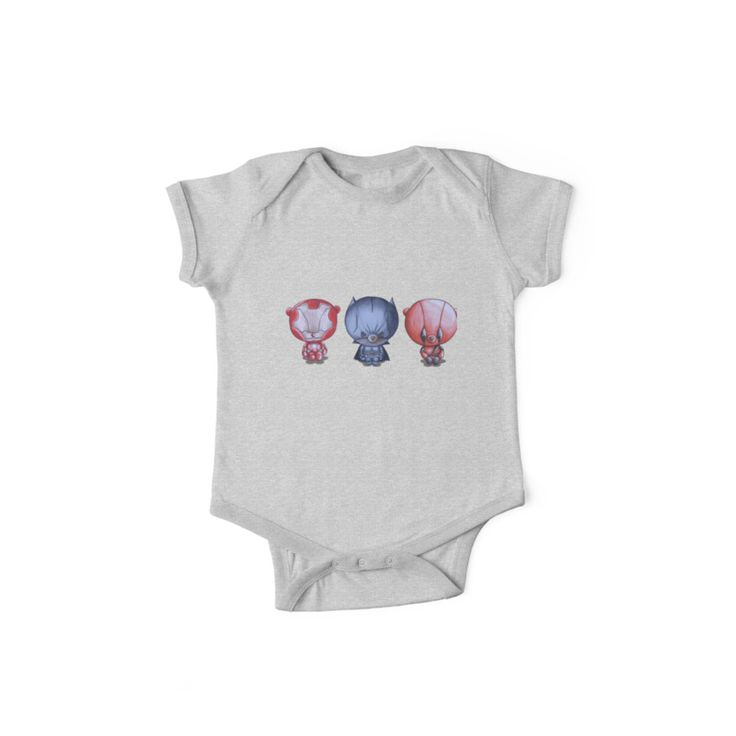 """""""3 Little Hero's"""" by I Love the Quirky - One-Piece Short Sleeve. Also available in long sleeved. Illustration includes Iron Ted, Bat Bear and Tedpool"""