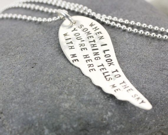 Angel Wing Necklace  Personalized Hand by ChristinaGuenther