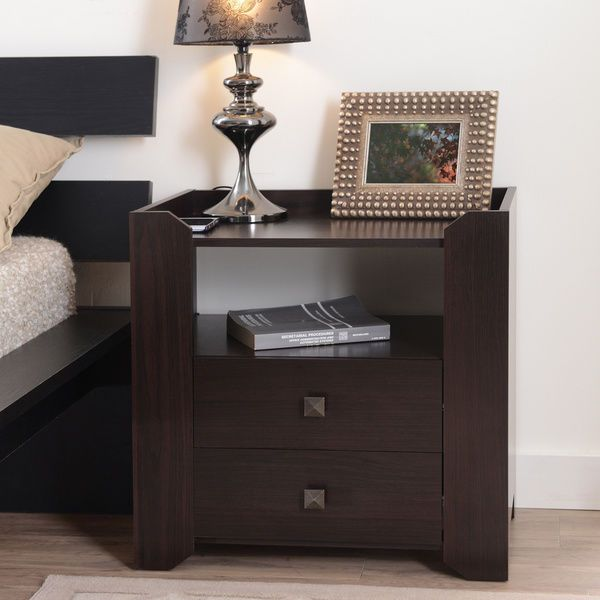 Espresso Nightstand Offer Modern Touch In Bedroom