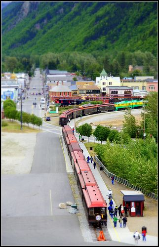 Skagway, Alaska - Real town, but photographed  to look like a miniature town by the photographer