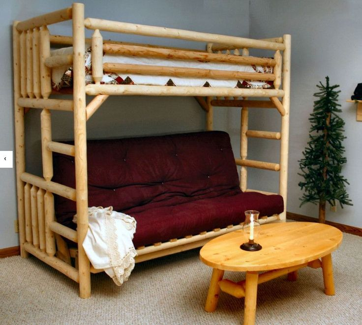 Lakeland Mills Rustic Twin Over Futon Bunk Bed