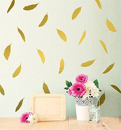 Yanqiao 12pcs/set Wall Decal Hand-made Abstract Gorgeous Feather Removable Mural…