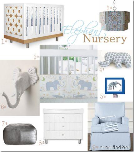 Elephant theme nursery room inspiration board by Simplified Bee.