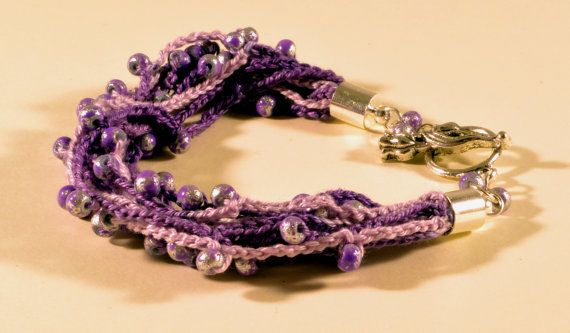 Crochet and beads bracelet, purple nuanced with beads, handmade crochet bracelet, summer bracelet, nuanced thread, purple-silver beads