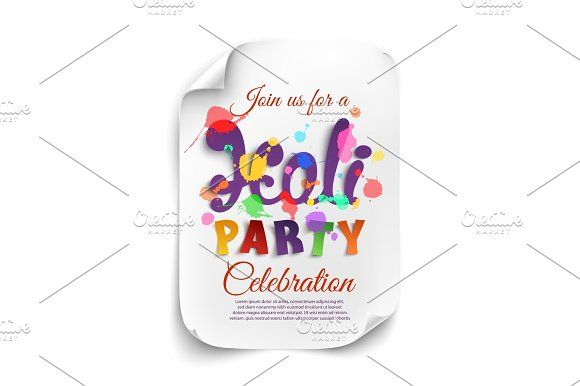 Holi party poster template on white background. by Aleksandrs on @creativemarket