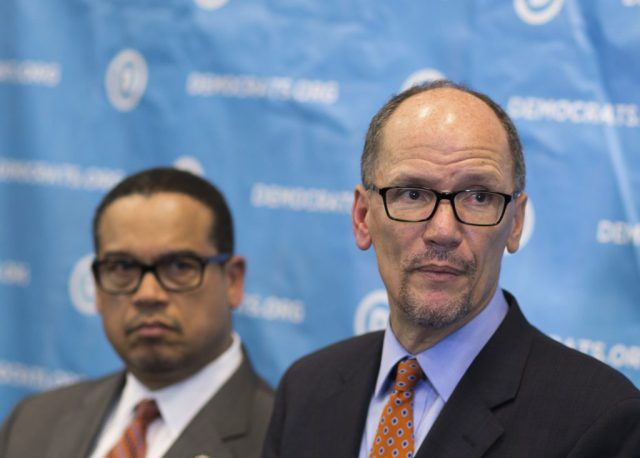 Newly elected Democratic National Committee Chairman Tom Perez, right, and Rep. Keith Ellison, D-Minn., who was named deputy chairman, listen to a question from the media during a press conference at the DNC winter meeting in Atlanta, Saturday, Feb. 25, 2017. (AP Photo/Branden Camp)  If there is even a slimy way to blame President Trump, the Congressional Democrats will do it.  No shame whatsoever, no regrets - just evil.