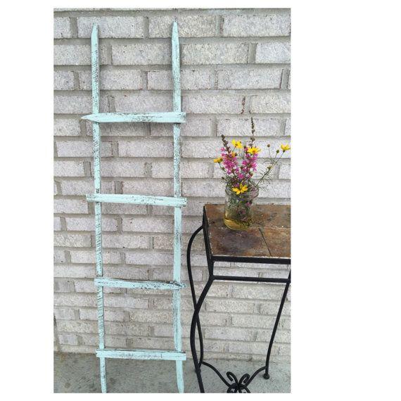 Primitive wooden garden ladder, rustic ladder, wooden decorative ladder, small leaning ladder, distressed wooden ladder