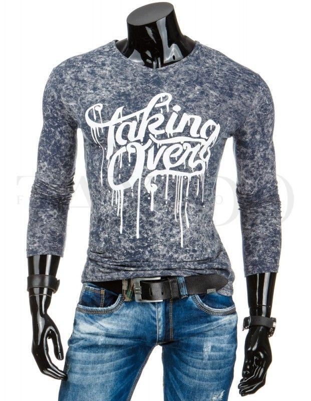 Pánské tričko s dlouhým rukávem - Johny, šedé