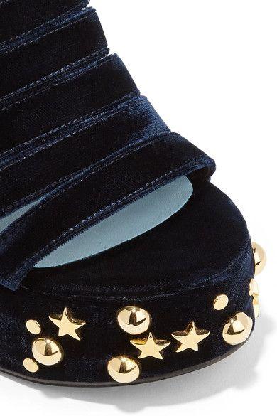 MR by Man Repeller - Lol If You Think I'm Walking Embellished Velvet Platform Sandals - Midnight blue - IT