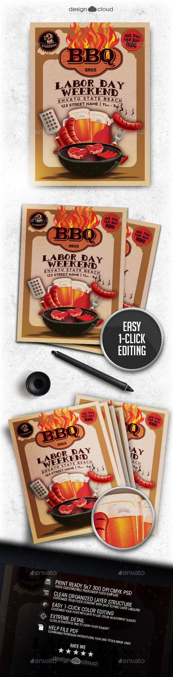 The Labor Day Weekend BBQ Flyer Template - Holidays Events