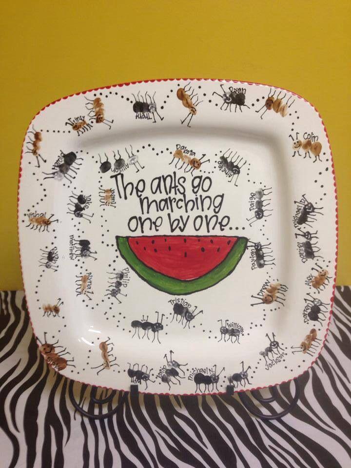 School auction idea: ceramic plate ant fingerprints