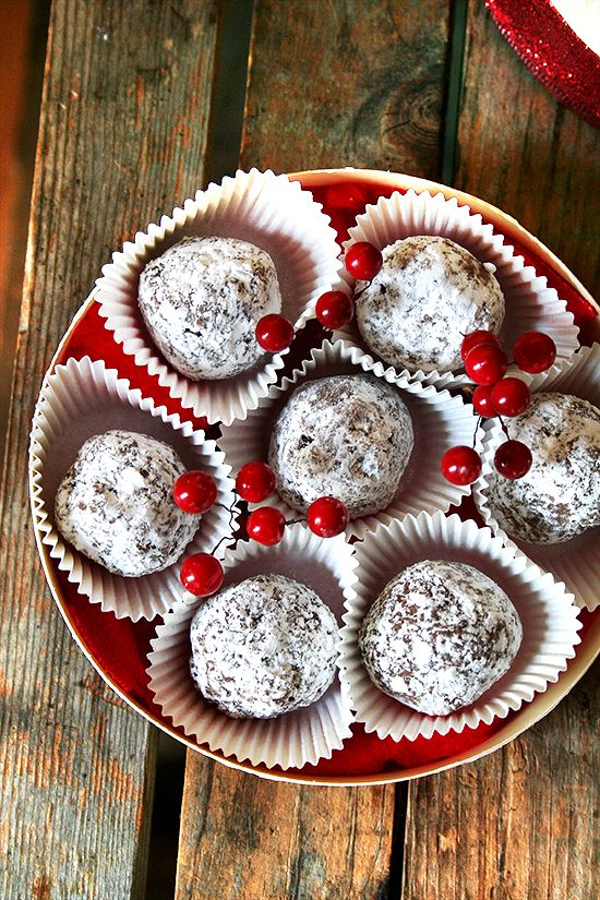 Rum Balls — So Easy, So Pretty, So Delicious?.. Shhh, don't tell my hubby I could make them!  Since one of our best friends already makes them for him every year...I wouldn't want to steal her thunder...just saying! heh heh!
