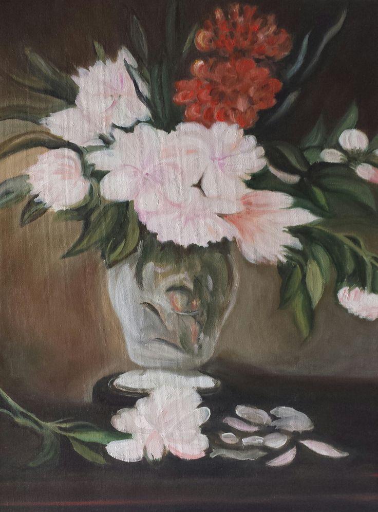 """Omaggio a Manet - """"Peonie"""" - copia d'autore - olio su tela - misure: 30 x 40 cm. - anno: 2010 - Collezione privata. #manet #art #artwork"""